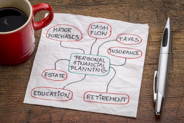 A drawing on a napkin for personal financial planning